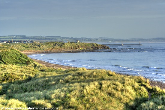 Early summer morning view of the beach at Amble Links.