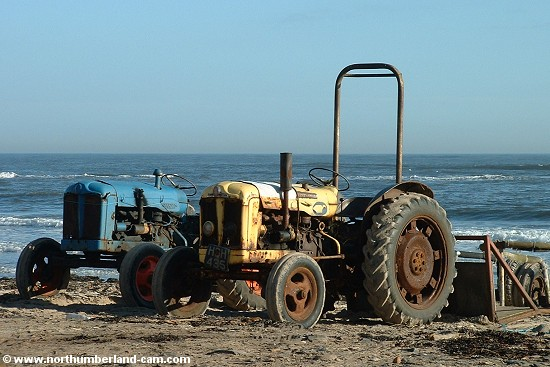 Tractors on the beach.