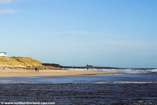 The beach seen from across the River Wansbeck and looking north to Newbiggin.