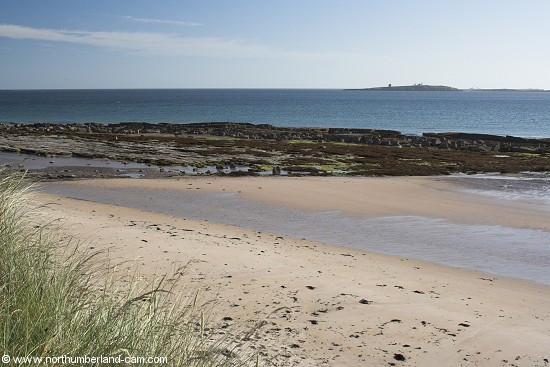 View from St. Aidan's dunes across the beach to the Farne Islands.