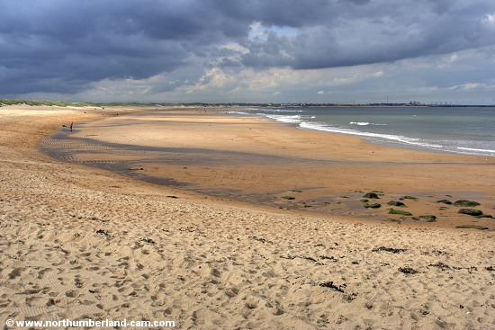 View north along the beach at Seaton Sluice towards Blyth.