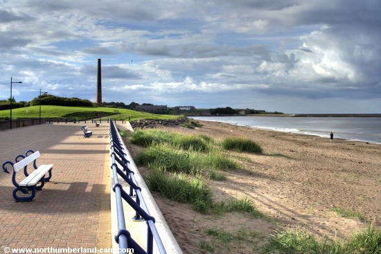 View north along the promenade and beach to the River Tweed and Berwick.