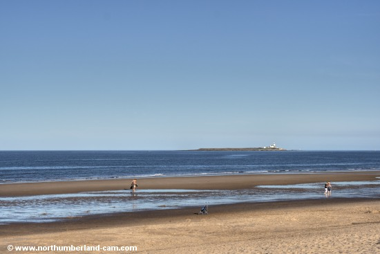View from the beach to Coquet Island.