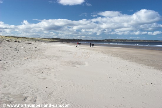 View looking north along Warkworth Beach.