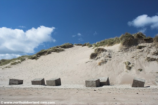 Large sand dunes and World War 2 anti-tank blocks at Warkworth Beach.