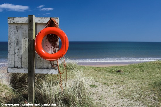 Lifebelt at Warkworth Beach.